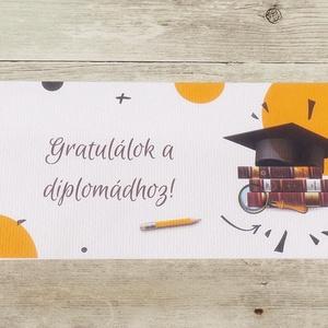 Diplomaosztóra pénzátadó boríték narancssárga, Boríték, Papír írószer, Otthon & Lakás, Papírművészet, Fotó, grafika, rajz, illusztráció, Ha szeretnél pénzt ajándékozni diplomaosztóra, de nem akarod csak egy sima, snassz borítékba belerak..., Meska