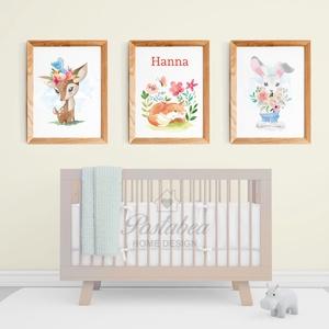 Lányos gyerekszoba, babaszoba  állatos virágos falikép szett, egyedi, névreszóló, róka, nyuszi, őzike, Kép & Falikép, Dekoráció, Otthon & Lakás, Papírművészet, Fotó, grafika, rajz, illusztráció, Nagyon cuki, gyerekszoba falikép állatokkal. A középső képre kérhető név (akár 2-3 név is).\n\nJó minő..., Meska