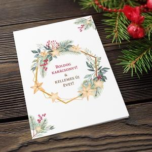 Karácsonyi képeslap, kinyithatós, csillogó borítékkal, fenyőágas adventi üdvözlőlap, újévi köszöntés, Karácsonyi képeslap, Karácsony & Mikulás, Otthon & Lakás, Papírművészet, Fotó, grafika, rajz, illusztráció, Nagyon szép, igényes karácsonyi és újévi képeslap, kinyithatós 11X15 cm-es méretben, hozzáillő csill..., Meska