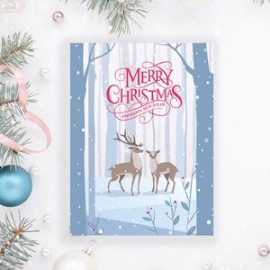 Kék szarvasos Karácsonyi képeslap, kinyithatós, csillogó borítékkal, fenyőágas adventi üdvözlőlap, újévi köszöntés, Karácsonyi képeslap, Karácsony & Mikulás, Otthon & Lakás, Papírművészet, Fotó, grafika, rajz, illusztráció, Nagyon szép, igényes karácsonyi és újévi képeslap, kinyithatós 11X15 cm-es méretben, hozzáillő jégké..., Meska