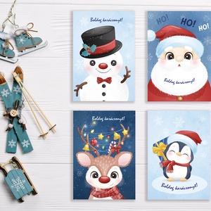 4 db-os Karácsonyi képeslap csomag 1 lapos, csillogó borítékkal, adventi üdvözlőlap, mikulás, pingvin, szarvas, hóember, Képeslap & Levélpapír, Papír írószer, Otthon & Lakás, Papírművészet, Fotó, grafika, rajz, illusztráció, Cuki, igényes karácsonyi képeslap csomag, 1 oldalas 11X15 cm-es méretben, hozzáillő fehér csillogó b..., Meska