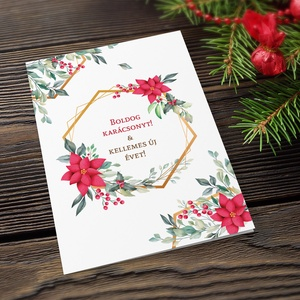 Karácsonyi képeslap, kinyithatós, csillogó borítékkal, piros virágos adventi üdvözlőlap, újévi köszöntés, Karácsonyi képeslap, Karácsony & Mikulás, Otthon & Lakás, Papírművészet, Fotó, grafika, rajz, illusztráció, Nagyon szép, igényes karácsonyi és újévi képeslap, kinyithatós 11X15 cm-es méretben, hozzáillő csill..., Meska