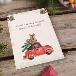 Vintage, retro karácsonyi képeslap, névreszóló, borítékkal, piros autós adventi üdvözlőlap, újévi köszöntés, Karácsonyi képeslap, Karácsony & Mikulás, Otthon & Lakás, Papírművészet, Fotó, grafika, rajz, illusztráció, Nagyon szép, igényes karácsonyi és újévi képeslap, kinyithatós 11X15 cm-es méretben, hozzáillő borít..., Meska