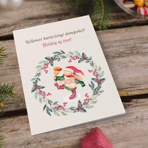 Vintage, retro karácsonyi képeslap, borítékkal, nyuszis koszorús adventi üdvözlőlap, újévi köszöntés, Képeslap & Levélpapír, Papír írószer, Otthon & Lakás, Papírművészet, Fotó, grafika, rajz, illusztráció, Nagyon szép, igényes karácsonyi és újévi képeslap, kinyithatós 11X15 cm-es méretben, hozzáillő borít..., Meska