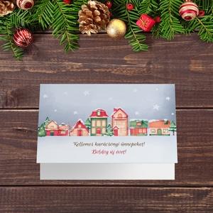 Karácsonyi képeslap, kinyithatós, csillogó borítékkal, házikós adventi üdvözlőlap, újévi köszöntés, Karácsonyi képeslap, Karácsony & Mikulás, Otthon & Lakás, Papírművészet, Fotó, grafika, rajz, illusztráció, Nagyon szép, igényes karácsonyi és újévi képeslap, felfelé nyithatós 11X15 cm-es méretben, hozzáillő..., Meska