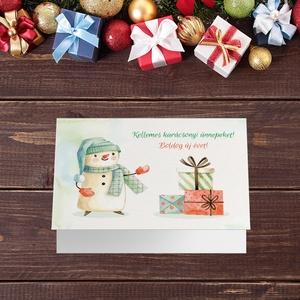 Karácsonyi képeslap, kinyithatós, csillogó borítékkal, hóemberes adventi üdvözlőlap, újévi köszöntés, Otthon & Lakás, Karácsony & Mikulás, Karácsonyi képeslap, Papírművészet, Fotó, grafika, rajz, illusztráció, Nagyon szép, igényes karácsonyi és újévi képeslap, felfelé nyithatós 11X15 cm-es méretben, hozzáillő..., Meska