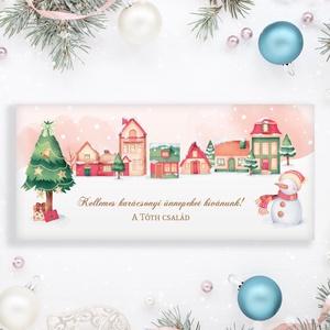Névreszóló karácsonyi pénzátadó, egyedi utalványátadó boríték barackvirágos színben házikós mintával, Otthon & Lakás, Karácsony & Mikulás, Karácsonyi csomagolás, Papírművészet, Fotó, grafika, rajz, illusztráció, Nagyon szép, igényes karácsonyi pénzátadó boríték, ha pénzt ajándékoznál, de stílusosan és igényesen..., Meska
