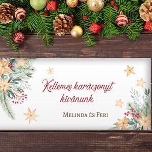 Névreszóló karácsonyi pénzátadó, egyedi utalványátadó boríték fenyőágas csillagos mintával, Otthon & Lakás, Karácsony & Mikulás, Karácsonyi csomagolás, Papírművészet, Fotó, grafika, rajz, illusztráció, Nagyon szép, igényes karácsonyi pénzátadó boríték, ha pénzt ajándékoznál, de stílusosan és igényesen..., Meska