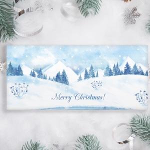 Névreszóló karácsonyi pénzátadó, egyedi utalványátadó boríték téli táj mintával, Otthon & Lakás, Karácsony & Mikulás, Karácsonyi csomagolás, Papírművészet, Fotó, grafika, rajz, illusztráció, Nagyon szép, igényes karácsonyi pénzátadó boríték, ha pénzt ajándékoznál, de stílusosan és igényesen..., Meska