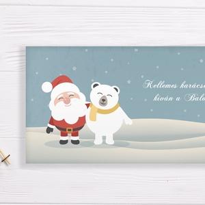 Névreszóló karácsonyi pénzátadó, egyedi utalványátadó boríték mikulás, jegesmedve mintával, Otthon & Lakás, Karácsony & Mikulás, Karácsonyi csomagolás, Papírművészet, Fotó, grafika, rajz, illusztráció, Nagyon szép, igényes karácsonyi pénzátadó boríték, ha pénzt ajándékoznál, de stílusosan és igényesen..., Meska