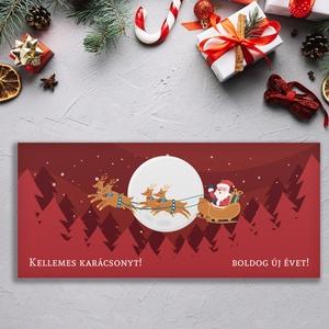 Névreszóló karácsonyi pénzátadó, egyedi utalványátadó boríték bordó mikulásos mintával, Otthon & Lakás, Karácsony & Mikulás, Karácsonyi csomagolás, Papírművészet, Fotó, grafika, rajz, illusztráció, Nagyon szép, igényes karácsonyi pénzátadó boríték, ha pénzt ajándékoznál, de stílusosan és igényesen..., Meska