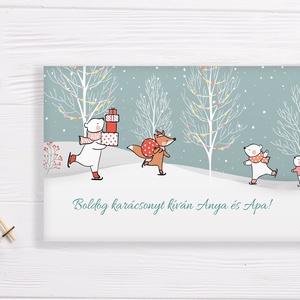 Névreszóló karácsonyi pénzátadó, egyedi utalványátadó boríték cuki állatos, téli tájképes mintával, Otthon & Lakás, Karácsony & Mikulás, Karácsonyi csomagolás, Papírművészet, Fotó, grafika, rajz, illusztráció, Nagyon szép, igényes karácsonyi pénzátadó boríték, ha pénzt ajándékoznál, de stílusosan és igényesen..., Meska