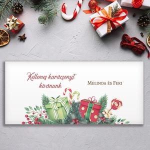 Névreszóló karácsonyi pénzátadó, egyedi utalványátadó boríték fenyőágas ajándékos mintával, Otthon & Lakás, Karácsony & Mikulás, Karácsonyi csomagolás, Papírművészet, Fotó, grafika, rajz, illusztráció, Nagyon szép, igényes karácsonyi pénzátadó boríték, ha pénzt ajándékoznál, de stílusosan és igényesen..., Meska