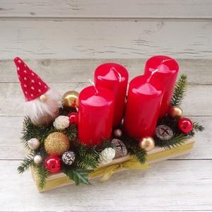 Manós, piros adventi koszorú, asztaldekoráció, lakásdísz, Karácsony, Adventi díszek, Adventi koszorú, Mindenmás, Festett tárgyak, Meska