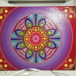 Bordó-szivárvány mandala lenvászon kép, Mandala, Dekoráció, Otthon & Lakás, Festészet, Festett tárgyak, Ez a mandala kép a szivárvány színeivel készült Neked sok-sok türelemmel, pozitív energiával és szer..., Meska