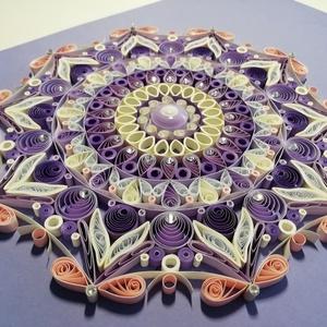 Lila csakra quilling mandala kép  3D exkluzív keretben, Otthon & lakás, Dekoráció, Kép, Képzőművészet, Vegyes technika, Lakberendezés, Falikép, Papírművészet, A lila csakrát támogató, kézzel készített quilling mandalakép megjelenése spirituális jelentése mell..., Meska