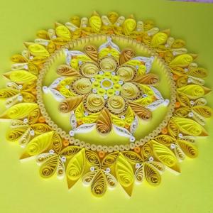 Sárga csakra quilling mandala kép  3D exkluzív keretben, Otthon & lakás, Dekoráció, Kép, Képzőművészet, Vegyes technika, Lakberendezés, Falikép, Papírművészet, A napfonat csakrát támogató, kézzel készített quilling mandalakép megjelenése spirituális jelentése ..., Meska