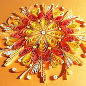 Narancssárga csakra quilling mandala kép  3D exkluzív keretben, Otthon & lakás, Dekoráció, Kép, Képzőművészet, Vegyes technika, Lakberendezés, Falikép, Papírművészet, A szakrális csakrát támogató, kézzel készített quilling mandalakép megjelenése spirituális jelentése..., Meska