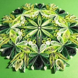 Zöld csakra quilling mandala kép  3D exkluzív keretben, Otthon & lakás, Dekoráció, Kép, Képzőművészet, Vegyes technika, Lakberendezés, Falikép, Papírművészet, A szív csakrát támogató, kézzel készített quilling mandalakép megjelenése spirituális jelentése mell..., Meska