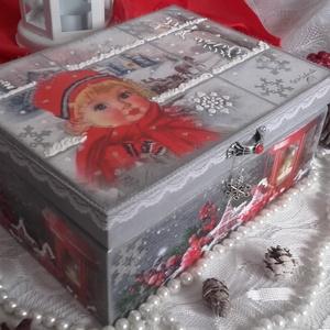 kislány a téli ablakban - karácsonyi nosztalgia doboz (pozsgigi) - Meska.hu