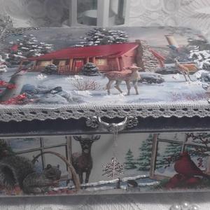 őzike a tisztáson - karácsonyi nosztalgia doboz (pozsgigi) - Meska.hu