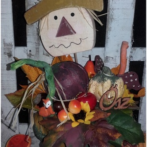 tökös őszi, világítós asztaldísz , Otthon & lakás, Dekoráció, Lakberendezés, Asztaldísz, Festett tárgyak, Papírművészet, Nagy szeretettel készítettem ezt a kedves kis, világítós asztaldíszt. A virágcserép , akrillal fetet..., Meska