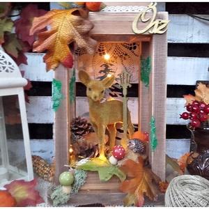 őszi, őzikés, világító lámpás, Otthon & lakás, Dekoráció, Dísz, Lakberendezés, Asztaldísz, Lámpa, Hangulatlámpa, Festett tárgyak, Virágkötés, Nagy szeretettel készítettem, ezt az igazán különleges őszi, erdei lámpást, melynek világítását 10 d..., Meska