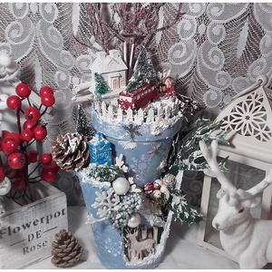 meseváros - karácsonyi asztaldísz (pozsgigi) - Meska.hu