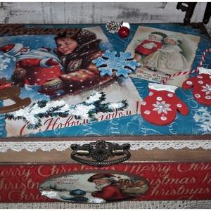 Nosztalgia Mikulás doboz ( Télapó, karácsony), Otthon & Lakás, Díszdoboz, Dekoráció, A doboz alapanyaga, fa. Mérete:26 cm. x 19 cm. x 9 cm. 12 rekeszes.  Több soron lakkozott, nedves ru..., Meska