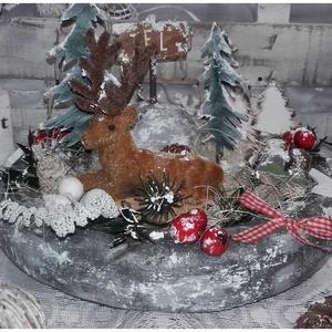 szarvasos világítós adventi asztaldísz, Adventi koszorú, Karácsony & Mikulás, Otthon & Lakás, Festett tárgyak, Virágkötés, Nagy szeretettel készítettem, ezt a kedves szarvasos asztaldíszt, mellyel a téli erdő hangulatát  cs..., Meska