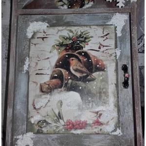 madarak a havas ágon -  fali kulcstartó (karácsony, tél), Otthon & Lakás, Kulcstartó szekrény, Bútor, Nagy szeretettel készítettem, ezt az igazán téli hanglatot sugárzó kulcstartót, melynek mérete 37 x ..., Meska