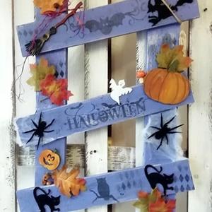 halloween létra - deoráció, Otthon & Lakás, Falra akasztható dekor, Dekoráció, Falra akasztható Halloween fali dekoráció. Alapanyaga fa, több soron lakkozott.., Meska