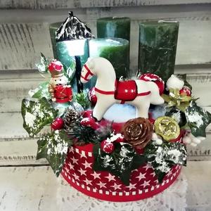 hintalovas világítós adventi koszorú, Karácsony & Mikulás, Adventi koszorú, Világítását 10 ledes izzósor adja, mely 2 db. gombelemmel működik, az elemek cserélhetők, Meska