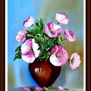 Sztopka Anna: SZELLŐRÓZSÁK--olajfestmény,festőkéssel vastag festékréteggel, Művészet, Festmény, Olajfestmény, Festészet, \nMérete 40x25\nkeret nélkül\nA képen látható keret virtuális\nPostázom,de személyesen is átvehető\nKöszö..., Meska