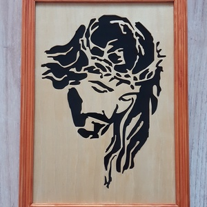 Jézust ábrázoló, fűrészelt falikép, Otthon & lakás, Dekoráció, Dísz, Kép, Lakberendezés, Falikép, Famegmunkálás, Festett tárgyak, Egyedi, 4 mm vastag rétegelt lemezből, \nelektromos lombfűrésszel kivágott, \nlakkozott, lazúrral fest..., Meska