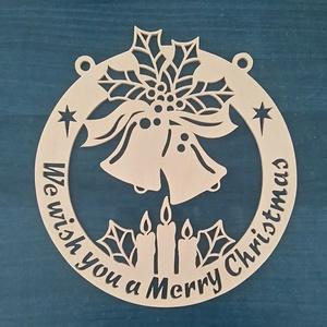 Karácsonyi, kézműves ajtódísz, Otthon & Lakás, Karácsony & Mikulás, Karácsonyi kopogtató, Famegmunkálás, Festett tárgyak, Egyedi, 4 mm vastag rétegelt lemezből,\nelektromos lombfűrésszel kivágott,\nlakkozott, karácsonyi, kéz..., Meska