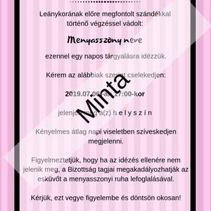 Lánybúcsú idézés - Meska.hu