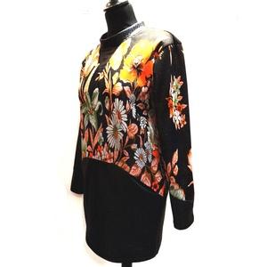 Virágos, zsebes felső, Pulóver & Kardigán, Női ruha, Ruha & Divat, Varrás, Akció! 18000 Ft helyett 16000 Ft!\nVirágos lurex jersey felső, fekete fényes jersey-vel kombinálva.\nA..., Meska