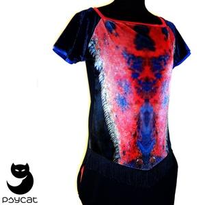 Printelt zsebes ruha, Ruha, Női ruha, Ruha & Divat, Varrás, A ruha alapanyaga digitális printelt plüss, sötétkék pamuttal kombinálva, lazacszínű eldolgozóval a ..., Meska