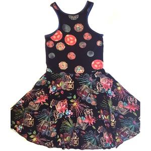 \'Jungle\' ruha, Ruha, Női ruha, Ruha & Divat, Varrás, Kétféle mintás viszkóz-lycra anyag találkozása egy ruhán. A nyak és a karöltő eldolgozója metálkék p..., Meska