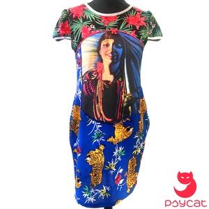 \'Juanita\' zsebes ruha, Táska, Divat & Szépség, Ruha, divat, Női ruha, Ruha, Varrás, Mintás viszkóz alapon mexikói lány digitális pamut print, amelyet királykék flittersor keretez.\nNyak..., Meska