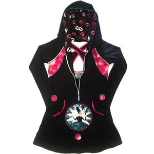 \'Wizard\' Kapucnis zsebes ruha, Ruha & Divat, Női ruha, Ruha, Varrás, Hímzés, A ruha alapanyaga fekete strech futter-pamut, elől egy fehér zippzár található, amelyet metáltürkiz ..., Meska