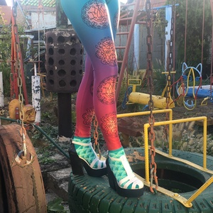 Mandalás printelt leggings, Ruha & Divat, Női ruha, Nadrág, Magyar népi motívumos, színátmenetes leggings. A leggings alapanyaga digitális printelt polyester.  ..., Meska