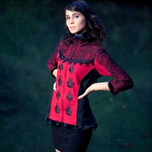 Hímzett kabátka, Ruha & Divat, Kabát, Női ruha, Rendelhető! Jelenleg nincs raktáron, az elkészítési idő méretek alapján kb.2 hét. Piros kissé strech..., Meska