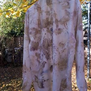 ecoprint technikával díszített férfi ing, Ing, Férfi ruha, Ruha & Divat, Selyemfestés, Azoknak az uraknak ajánlom, akik szeretik a természetes anyagokat, a finom színeket, a különlegesség..., Meska