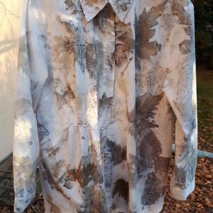 ecoprint technikával díszített női blúz, Táska, Divat & Szépség, Női ruha, Ruha, divat, Blúz, Selyemfestés, Azoknak ajánlom, akik szeretik a természetes anyagokat, a csipkét, a finom színeket, a különlegesség..., Meska
