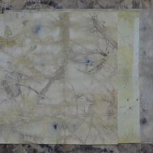 ecoprint technikával készített papír, Művészi nyomat, Művészet, Újrahasznosított alapanyagból készült termékek, Papírművészet, A papír mintázatát ecoprint technikával készítettem. Az ecoprint, vagyis a növényekkel való nyomatké..., Meska