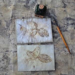Eco print technikával készült boríték + levelezőlap  (Pulsar) - Meska.hu