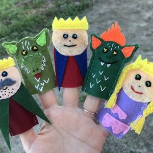 Ujjbáb szett - Kiskirály , Báb készlet, Bábok, Játék & Gyerek, Baba-és bábkészítés, Varrás, Filcből készült ujjbáb szett! A báb szettet a királyfis sárkányos hercegnős mesék inspirálták! \nA cs..., Meska