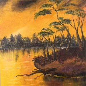 olaj festmény 50 X 40 cm, Olajfestmény, Festmény, Művészet, Festészet, Olaj festmény, falapra készült, gyönyörű naplemente ihlette.Szignózott jobb oldalon, lent, dátummal,..., Meska
